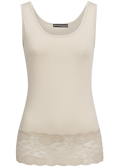 Styleboom Fashion Damen Tank Top beige