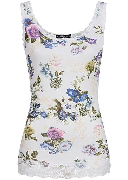 Styleboom Fashion Damen Tank Top Spitze Blumen Muster weiss ...