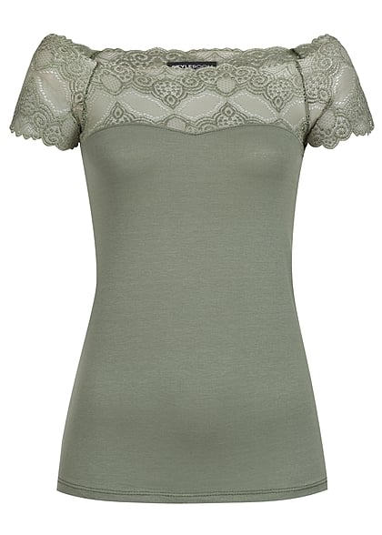 Styleboom Fashion Damen Top Spitze khaki