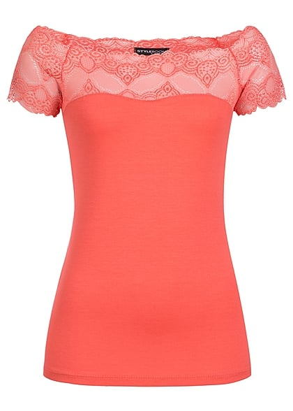 Styleboom Fashion Damen Top Spitze coral rot