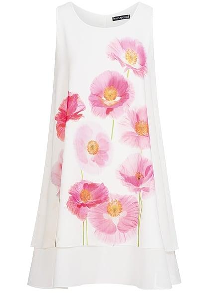 Styleboom Fashion Damen Kleid Blumen Print weiss rosa - 77onlineshop
