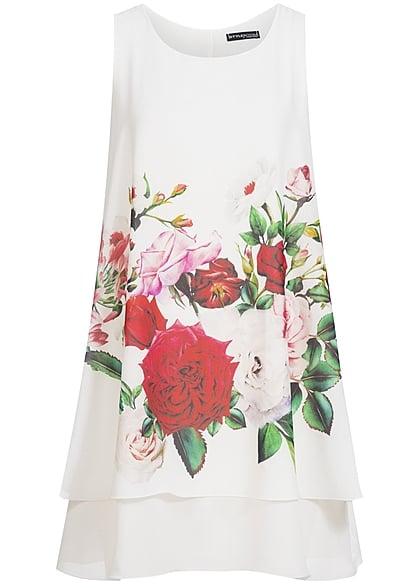 Styleboom Fashion Damen Kleid Blumen Print Weiss Rot 77onlineshop