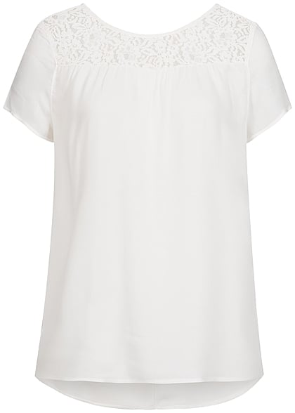ONLY Damen Blusen Top Spitze oben cloud dancer weiss