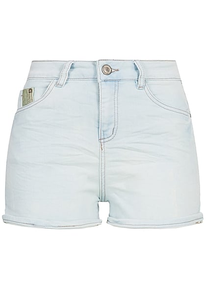 Eight2Nine Damen Short Crash Optik 5-Pockets Beinumschlag hell blau denim