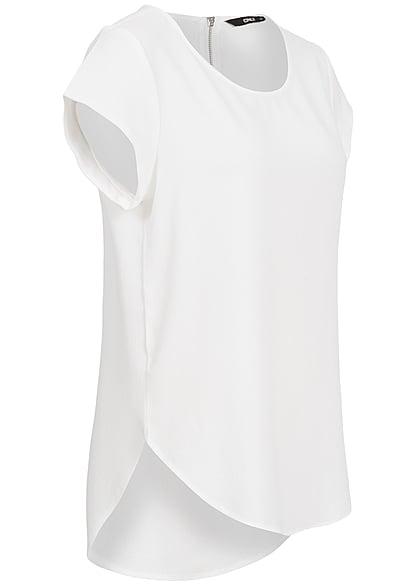 ONLY Damen NOOS Solid Blusen Shirt Struktur Muster Zipper cloud dancer weiss
