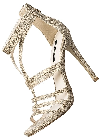 premium selection ce5d8 8e847 Seventyseven Lifestyle Schuh Damen Stiletto Sandalette Absatz 12cm Glitzer  gold