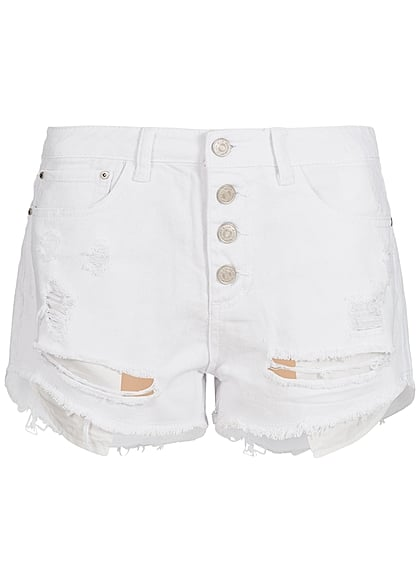 Hailys Damen Jeans Short Destroy Look 5-Pockets Knopfreihe weiss