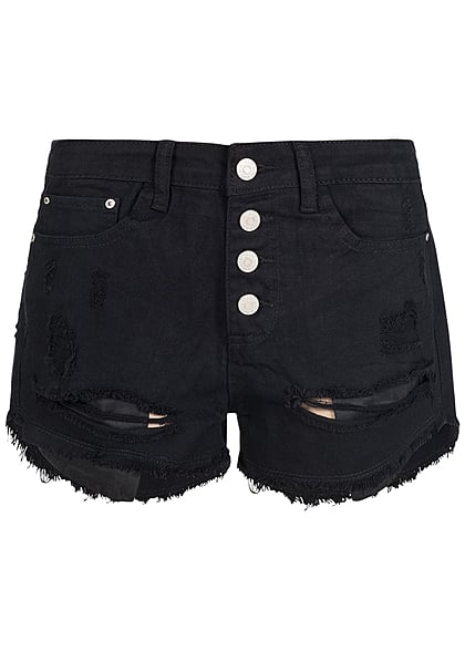 Hailys Damen Jeans Short Destroy Look 5-Pockets Knopfreihe schwarz