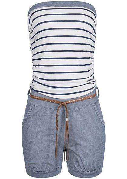 Styleboom Fashion Jumpsuit Flechtgürtel gestreift 2 Taschen vorne weiss navy  - 77onlineshop 58c0c67815