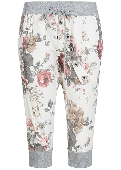 Styleboom Fashion Damen Capri Sweat Short  Blumen Muster weiss rosa braun