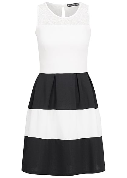 Styleboom Fashion Damen Kleid Spitze gestreift weiss schwarz - 77onlineshop b898566389