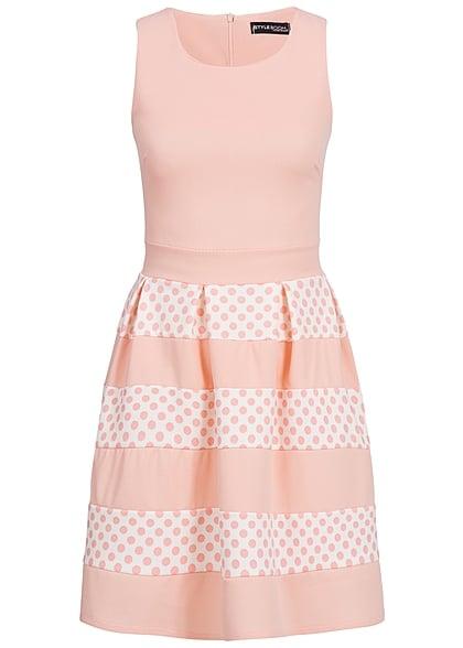Styleboom Fashion Damen Kleid Punkte Muster rosa weiss - 77onlineshop