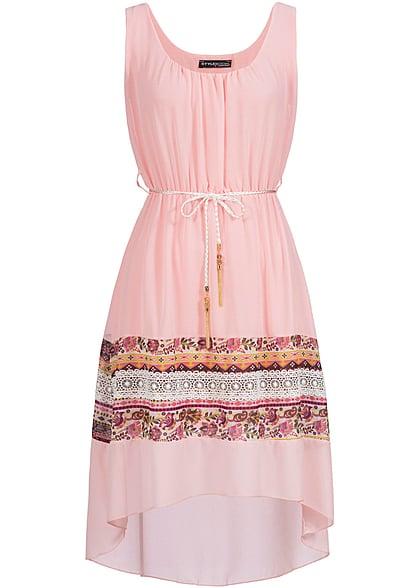 Styleboom fashion damen kleid hakeleinsatz blumenmuster navy