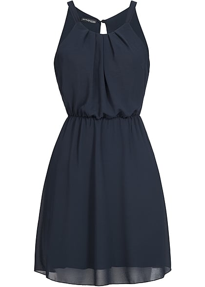 Styleboom Fashion Damen Chiffon Kleid 2-lagig navy