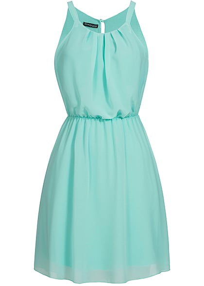 Styleboom Fashion Damen Chiffon Kleid 2-lagig mint grün