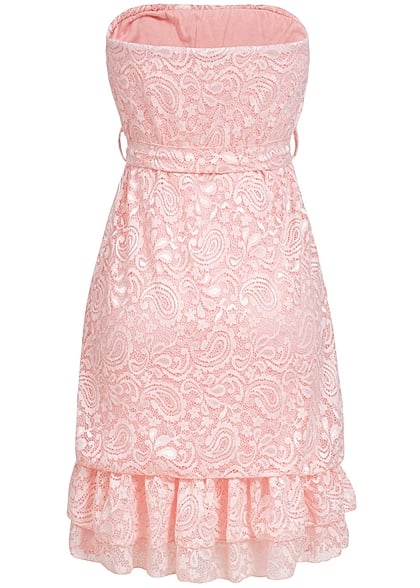 Styleboom Fashion Damen Mini Bandeau Kleid Spitze Allover Bindegürtel 2-lagig rosa