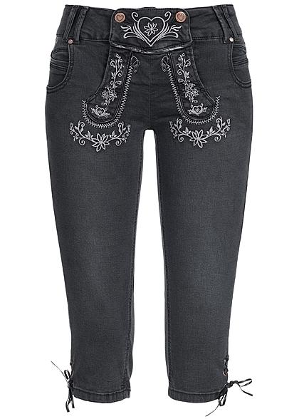 Hailys Damen Trachten 34 Jeans mit Stickerei 5 Pockets schwarz