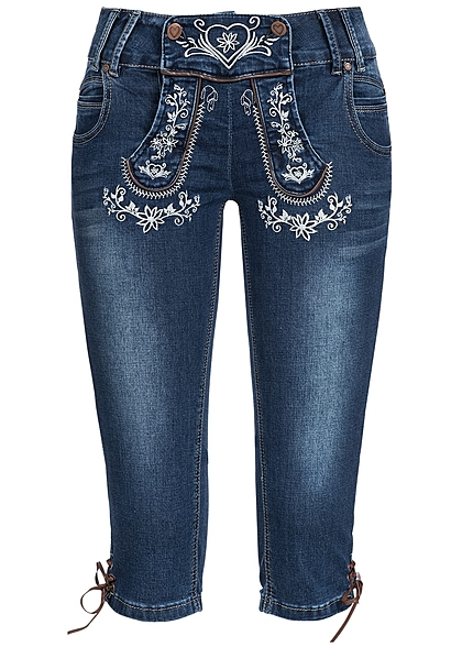 Hailys Damen Trachten 3/4 Jeans mit Stickerei 5-Pockets dunkel blau denim