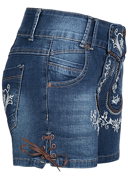 Hailys Damen Trachten Jeans Shorts mit Stickerei 5-Pockets dunkel blau denim