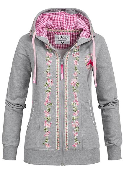 Damen Trachtenjacke Trachten Strickjacke Sweater Hoodie Grau Schwarz Langarm