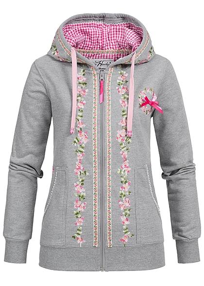 Hailys Damen Trachten Sweat Jacke Zip Hoodie Stickerei 2 Taschen hell grau rosa