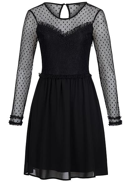 ONLY Damen Kleid Mini Mesh Spitze Blumen Muster schwarz