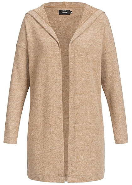 ONLY Damen Cardigan offener Schnitt Kapuze indian tan braun melange