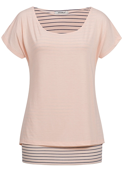 Hailys Damen 2in1 T-Shirt gestreift rose rosa blau