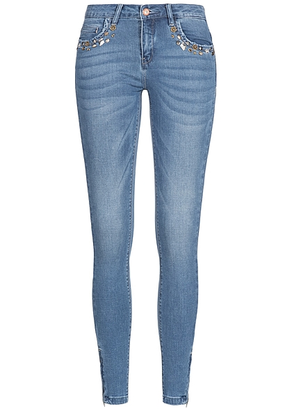 ONLY Damen Jeans Hose Deko Steine 5-Pockets Zipper seitlich medium blau denim