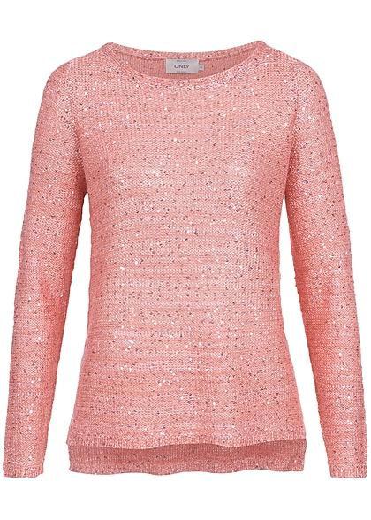630e107abbe8 ONLY Damen Pullover Pailletten dawn rosa - 77onlineshop