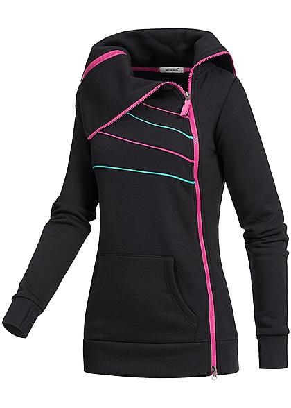 hailys damen sweat zip jacke 2 taschen zipper seitlich. Black Bedroom Furniture Sets. Home Design Ideas