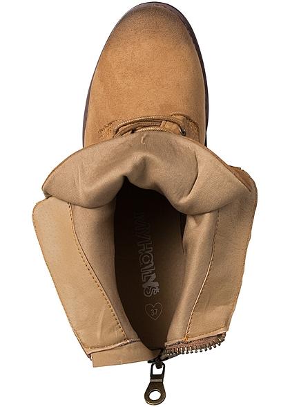 bb7760fe807233 Hailys Damen Schnür Boots Kunstleder Zipper hinten camel braun -  77onlineshop