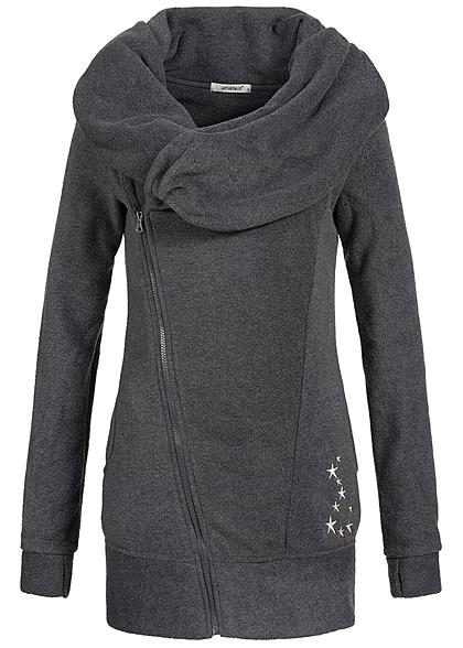best website 91f17 79da7 Seventyseven Lifestyle Damen Sweat Jacke Sterne 2 Taschen Zipper seitlich  dunkel grau