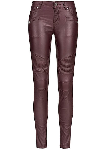 Hailys Damen Hose 2 Deko Zipper vorne 5-Pockets wine rot