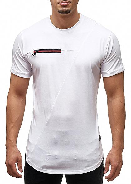 6a4641a9eb3993 Seventyseven Lifestyle Herren T-Shirt Deko Zipper vorne weiss - 77onlineshop