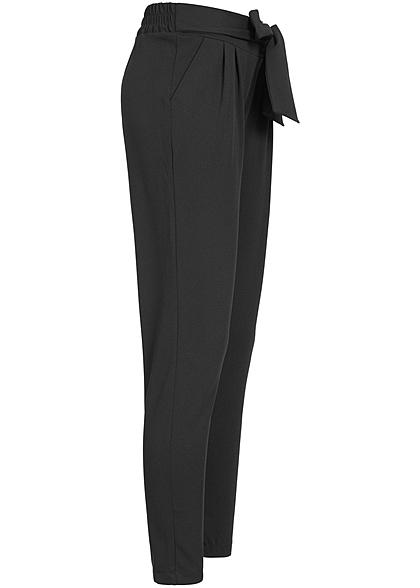 Hailys Damen Stoffhose Bindedetail vorne 2-Pockets schwarz