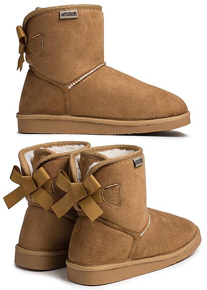 sports shoes a3a2f e57df Hailys Damen Schuh Winter Boot Schleife hinten camel braun