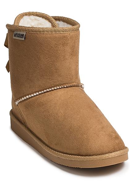 Hailys Damen Schuh Winter Boots Teddyfell Schleife hinten camel braun