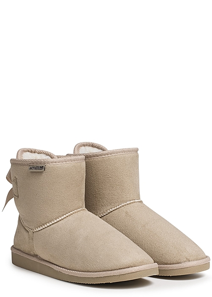 Hailys Damen Schuh Winter Boots Teddyfell Schleife hinten beige