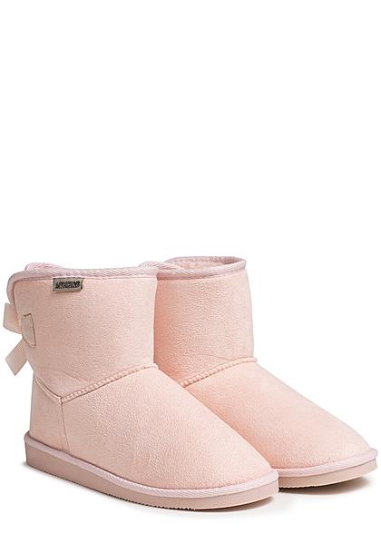 Hailys Damen Schuh Winter Boots Teddyfell Schleife hinten hell rosa