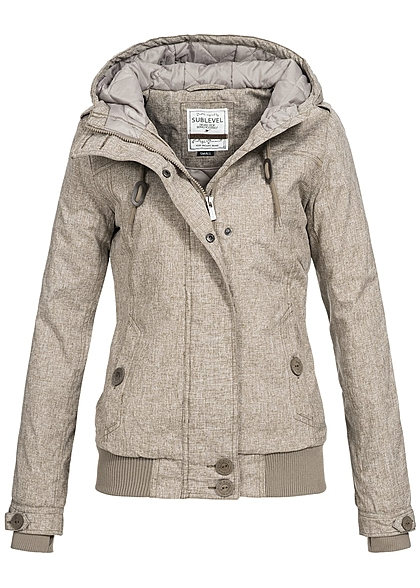 Eight2Nine Damen Übergangs Jacke Kapuze 2-Pockets by Sublevel fungi braun melange