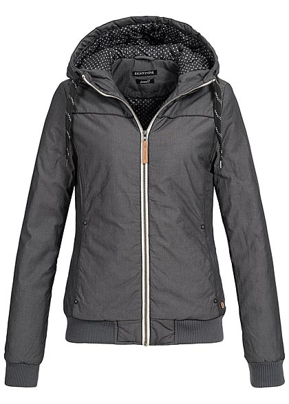 Eight2Nine Damen Übergangs Jacke Kapuze 2-Pockets anthracit grau melange