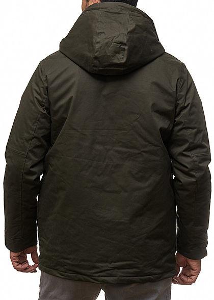 Seventyseven Lifestyle Herren Winter Jacke Kapuze 4-Pockets 1 Zip Tasche olive grün