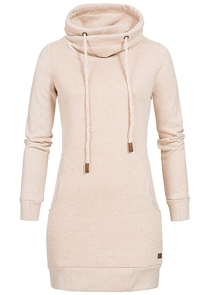 Seventyseven Lifestyle Damen High-Neck Sweater Longform 2 Taschen rosa melnage
