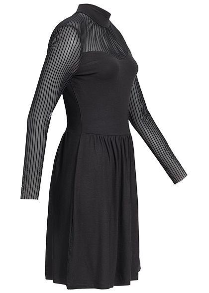 ONLY Damen Langarm Kleid Passe oben schwarz