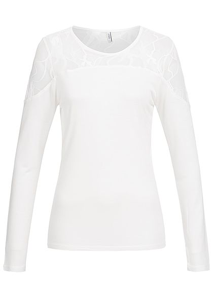 ONLY Damen Longsleeve Netz Optik oben cloud dancer weiss