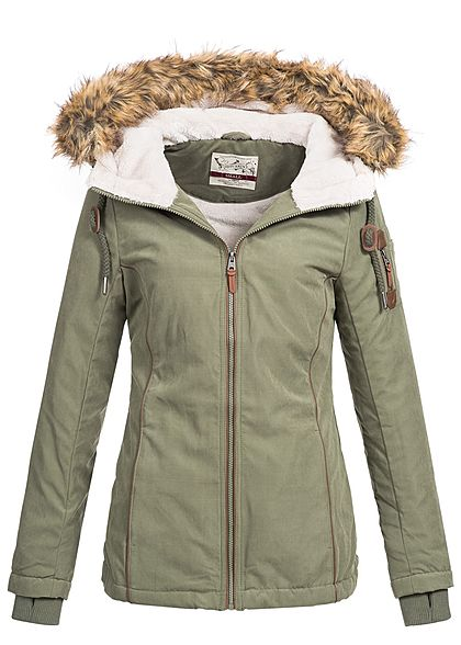 Eight2Nine Damen Winter Jacke abnehmbares Kunstfell by Urban Surface ivy olive