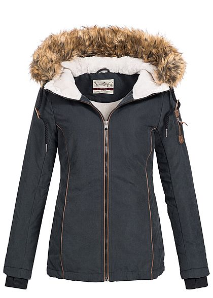Eight2Nine Damen Winter Jacke abnehmb Kunstfell Kapuze by Urban Surface schwarz