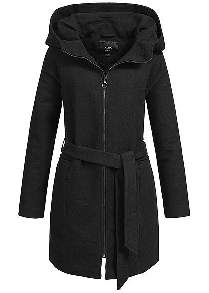 promo code c9297 983a4 ONLY Damen Übergangs Mantel grosse Kapuze 2 Taschen Bindegürtel schwarz