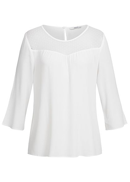 ONLY Damen 3/4 Top lockerer Schnitt Passe oben cloud dancer weiss